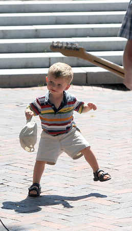 Newburyport: Lucas Itrato, 2, dances to the blues rock music of Max Sullivan Band as they perform on Inn Street Sunday afternoon. JIm Vaiknoras/Staff photo