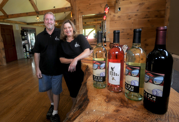 Rowley: Rick Rousseau and Donna Martin at the newly opened Mill River Winery in Rowley. JIm Vaiknoras/Staff photo