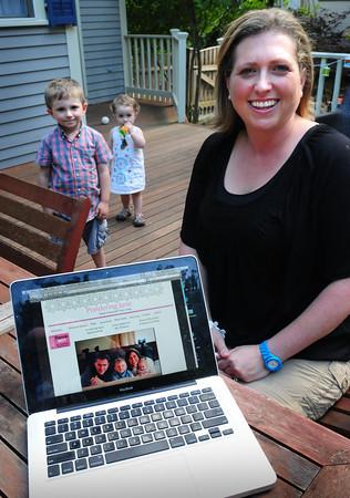 Newburyport: Newburyport blogger mom Jennifer Andersen with children Owen, 4, and Sydney, 23 months. Bryan Eaton/Staff Photo