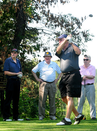 Newbury: Jerry Rourke of Newburyport tees off at the Yankee Homecoming Golf Tournament. Bryan Eaton/Staff Photo