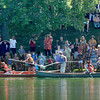 Newburyport: Spectators gather around the Frog Pond to watch the canoe tilt at Yankee Homecoming's Old-Fashioned Sunday on the Mall.  Jim Vaiknoras/Staff photo
