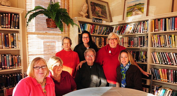 Newburyport: Emma Andrews Branch Library volunteers, seated from left, Kathy Malynn, Margie Gillis, Donna Conway and Allison Heartquist. Standing, from left, Jody Axelson, Kimberley Klapes and Arlene Lauro. Bryan Eaton/Staff Photo