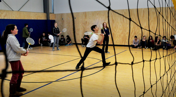 Newburyport: Eight grade students at the River Valley Charter School in  Newburyport were challenged to a game of badminton. The event was a fundraiser for the Pettengill House Food Pantry with the admission of playing and watching being two dollars or two food items. Bryan Eaton/Staff Photo