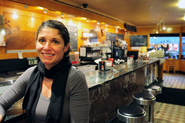 Newburyport: Laurie Trout at the counter of Fowle's Coffee House in downtown Newburyport. Bryan Eaton/Staff Photo