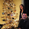 Newburyport: Artist Jason Rivera created a Christmas tree with his fiance Amee Bernard at their Carter Street home in Newburyport using driftwood they found at Salisbury Beach. A metal rod shoots through the center which the wood is mounted, and the pieces are numbered when it comes time to reassemble next year. Bryan Eaton/Staff Photo