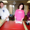 Newburyport: Kayla Kamon, 14, Jocelin Retherford, 13, and Amanda Kelleher, 14, members of AIM, Awsome Individual Me, at the Nock Middle School wrap some of the more than 50 presents for teachers at the school. Jim Vaiknoras/staff photo