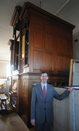 Newburyport:  First Religious Music director Jay Lane with the newly restored  Alley organ. JIm Vaiknoras/staff photo