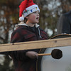 Newbury: Joshua Quintiliani plays the bass drum with the  Newbury Elementary School band at the annual Tree lighting on the Newbury Upper Green Sunday. Jim Vaiknoras/staff photo