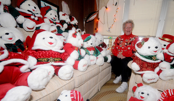 Newbury: Norma Gray and her large collection of Christmas decorations. Jim Vaiknoras/staff photo