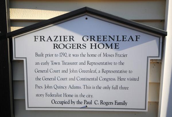 Newburyport: Sign on the Frazier, Green, Rogers home on Green Street in Newburyport. Jim Vaiknoras/staff photo