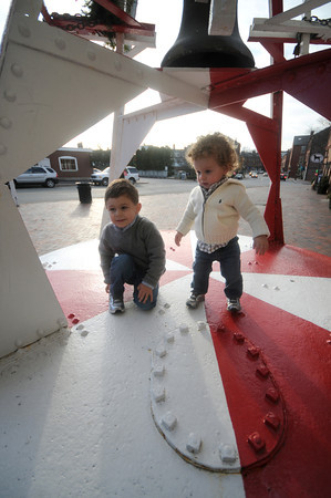 Newburyport: Ben Goglietta, 3, and his brother Matthew, 1, check out the red and white bouys at the Custom's House Museum in Newburyport. The boys are from Shrewsbury and came up with their mom Melinda to visit their uncle. Jim Vaiknoras/staff photo