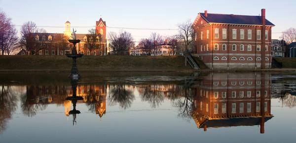 Newburyport: Reflections in teh Frog Pond at the Mall in Newburyport. Jim Vaiknoras/staff photo