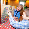 Newburyport; Pam Mosesian of Newburyport and her son Matty, 5, with their advent calender. Jim Vaiknoras/staff photo