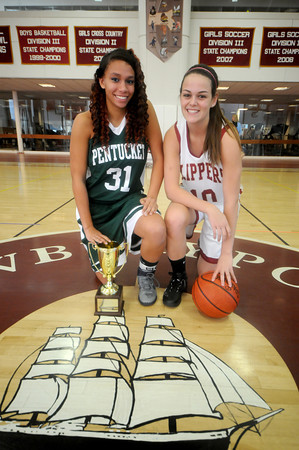 Newburyport: Newburyport's Beth Castantini and Pentucket's Sarah Higgins pose at the Newburyport high school  gym. Jim Vaiknoras/staff photo