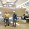 Rowley: Jack Winninghoff owner of Winninghoff Boats and Bill Stone with an aluminum oyster barge at they built in Rowley .Jim Vaiknoras/staff photo