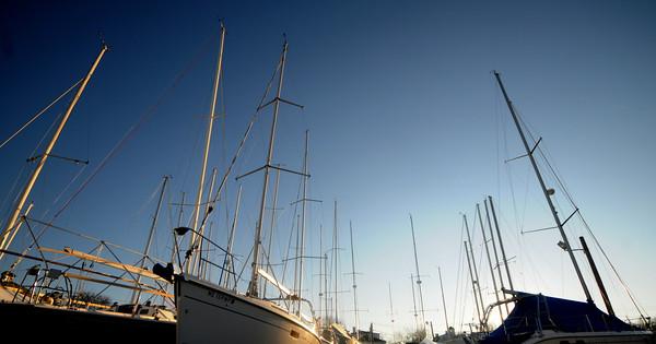 Newburyport: Masts on sailboats at the Windward Yacht Yard in Newburyport reach up toward the cold winter sky. Jim vaiknoras/staff photo