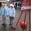 newburyport: Anica Sullivan, 11, and her sister Olivia, 9, collect donation for the Salvation Army in Market Square Saturday afternoon. Jim Vaiknoras/staff photo