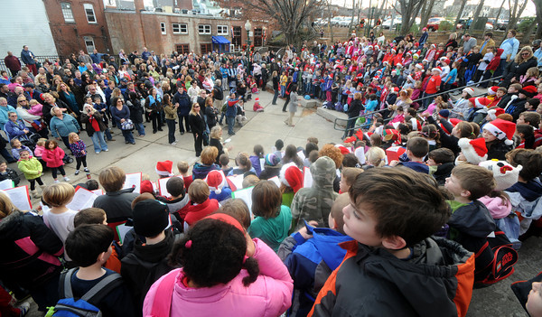 Amesbury: Family members and friend fill the Al Capp Amphitheater to enjoy the Holiday sounds of teh Amesbury Elementary School Choir under the direction of music teacher Alicia Terrell. JIm Vaiknoras/staff photo