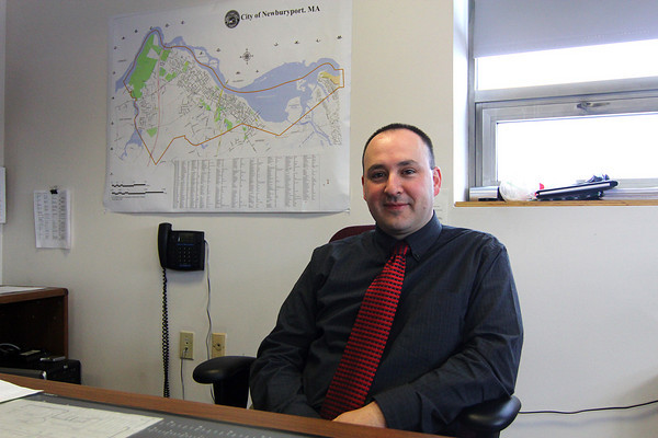 Newburyport: Andrew Lafferty has returned to his position at the Newburyport DPW after serving in Afgahnistan for the past year. Photo by Ben Laing/Staff Photo