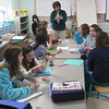Merrimac: Kathleen Ells demonstrates to her sixth grade class at the Donghue School in Merrimac some examples of scientific questions they could ask during class Tuesday afternoon. The students will be in class all week while most of their counterparts in the surrounding towns have February vacation. Photo by Ben Laing/Staff Photo