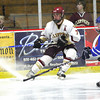 Newburyport: Newburyport's Gaven LaValley (7) throws on the brakes during Tuesday's shootout victory over Danvers in the Newburyport Bank Tournament at the Graf Rink. Photo by Ben Laing/Staff Photo