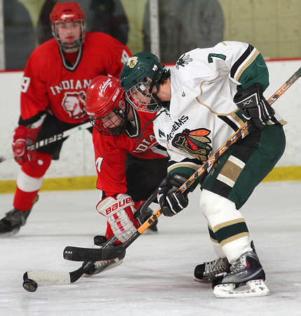Newburyport: Pentucket's Max Mangano (7) faces off with Amesbury's Zachary Pizzo (4) during Wednesday's 2-2 tie at the Graf Rink. Photo by Ben Laing/Staff Photo