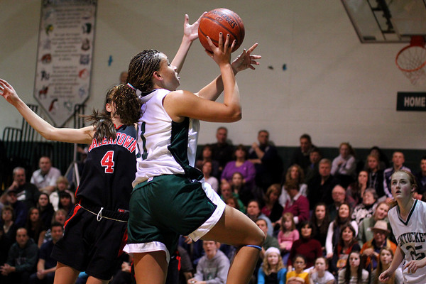 West Newbury: Sarah Higgins (31) of Pentucket takes a shot during Monday night's game against Watertown in West Newbury. Photo by Ben Laing/Staff Photo