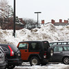Newburyport: Mounds of snow take up valuable parking space in the Green Street lot in Newburyport as of Tuesday afternoon. Photo by Ben Laing/Staff Photo