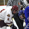 Newburyport: Newburyport's Cam Roy (4) skates to the faceoff circle during Tuesday night's game against Danvers. The Clippers won the game in a shootout as part of the Newburyport Bank Tournament. Photo by Ben Laing/Staff Photo