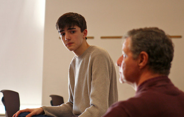 Newburyport: Alex Bradley, a junior at Newburyport High School, holds a meeting with English teacher Stephen Malenfant after school on Monday in hopes to re-establish the Masthead, the school's newspaper which hasn't run for the past two years. Photo by Ben Laing/Staff Photo