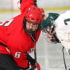 Newburyport: Amesbury's Connor Stevens (6) enters the faceoff circle with Pentucket's Max Mangano (7) Wednesday as the two teams battled to a 2-2 tie at the Graf Rink. Photo by Ben Laing/Staff Photo