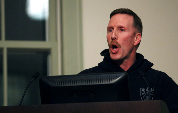 Salisbury: Salisbury police officer Daniel McNeil address the town council at Salibury Town Hall Monday night regarding the investigation into former police chief David L'eserance. Photo by Ben Laing/Staff Photo