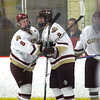 Newburyport: Connor Wile (6) congratulates Kris Holmes (9) on his first of two goals for the Clippers Tuesday night, as Newburyport would defeat Danvers in a shootout as part of the Newburyport Bank Tournament. Photo by Ben Laing/Staff Photo