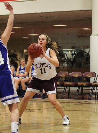 Newburyport: Newburyport's Haley Johnson (11) sets up for a shot during Tuesday night's game against Georgetown. Photo by Ben Laing/Staff Photo