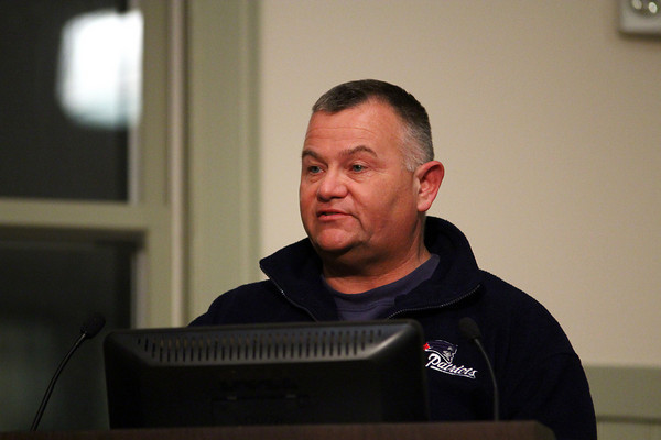 Salisbury: Salisbury police officer Sgt. Chuck Scione addresses the crowd at Salisbury Town Hall Monday night regarding the St. Pierre Report, which investigated alleged misconduct by former police chief David L'esperance. Photo by Ben Laing/Staff Photo