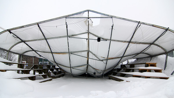 Newbury: The greenhouse roof at Tendercrop Farms collapsed Wednesday afternoon under the weight of two snow storm's worth of snow. Photo by Ben Laing/Staff Photo