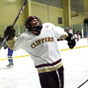 Newburyport: Cooper Hines (17) of Newburyport celebrates after scoring the teams second goal of the night during Tuesday's game against Danvers. Photo by Ben Laing/Staff Photo