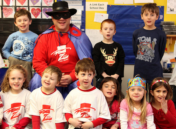 Newburyport: Zero the Hero stopped by to visit Kathleen Leahy's kindergarten class at the Brown School Monday afternoon. Photo by Ben Laing/Staff Photo