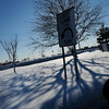 Salisbury: Fresh snow and a setting sun created a winter scene on the traffic island at Salisbury Beach on Thursday afternoon. Bryan Eaton/Staff Photo