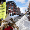 Newburyport: Newburyport police closed the right side of Pleasant Street off to parking yesterday afternoon after several delivery trucks and other vehicles had trouble getting around cars that jutted into the roadway due to the large amount of snow. Bryan Eaton/Staff Photo