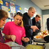 Salisbury: The Salisbury Police Officer's Union put on a pasta and meatball Valentine's Luncheon for the Salisbury Council on Aging at the Hilton Center on Tuesday. Dishing out the food, from left, Pam King, dispatcher Scarlet Balkus, officers Tim Hunter and Dan McNeil. Bryan Eaton/Staff Photo