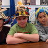 Seabrook; Binky Perkins, Jacob Small, and Jason Lee, students at Seabrook Elementary School, wear hats for crazy day. It's Carnival Week at Seabrook, and each day a different theme is featured. Mary O'Connor Staff Photo