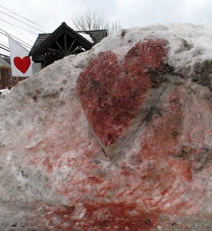 Newburyport; A heart was carved into a snowbank at the entrance to the Tannery on Valentine's Day. Mary O'Connor/Staff Photo