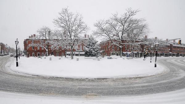 Newburyport: A quiet snowy Sunday morning in Market Square in Newburyport. Jim Vaiknoras/Staff photo
