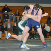 Byfield: Cousins Andy Stasiuk of Pentucket and Ryan Clay of Triton, who Friday night wrestled each other for the first time in a high school meet. Jim Vaiknoras/Staff photo
