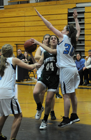 Byfield: Pentucket's Alyssa Nogueira shoots over Triton's Jessica Canning during their game Thursday night at Triton. Jim Vaiknoras/Staff photo