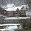 Amesbury: The Lowell Boat Shop along teh Merrimack River in Amesbury is seen through heavy snow early Sunday morning. Jim Vaiknoras/Staff photo
