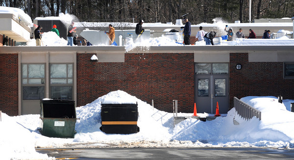 Amesbury: Workers remove snow from the roof of Amesbury High School Friday afternoon, school in town was closed due to concerns for heavy snow. Jim Vaiknoras/Staff photo
