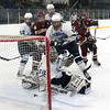 Wilmington: Newburyport threaten to jump out to an early 1-0 lead during Monday afternoon's game against Wilmington as a shot from the point trickled through Wildcats goalie Joseph Aucoin's legs. Aucoin was able to secure the puck before it crossed the goal line. Photo by Ben Laing/Staff Photo