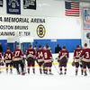 Wilmington: The Newburyport Clippers line up for the National Anthem before Monday's game against Wilmington at Ristuccia Arena. The Clippers were lucky enough to watch a bit of Bruins practice as the arrived at the rink, which is the team's pracitce facility as well as home for the Wildcats. Photo by Ben Laing/Staff Photo